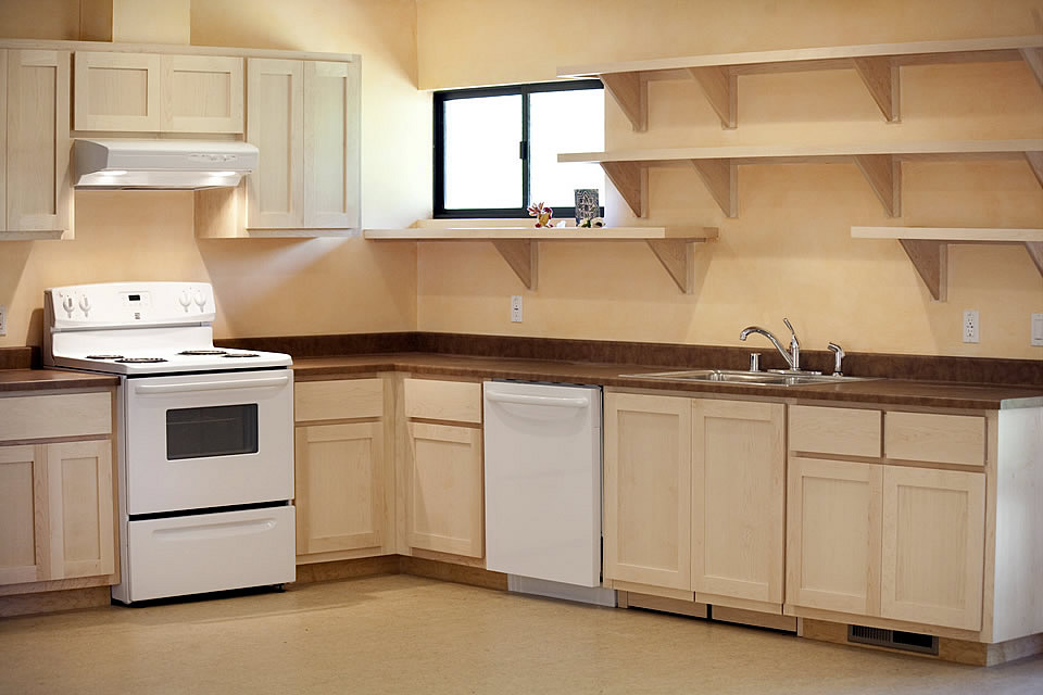 light brown clubhouse kitchen