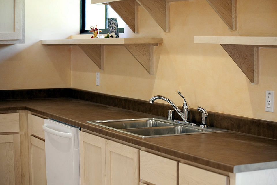 wood open shelving two sided stainless sink laminate counter