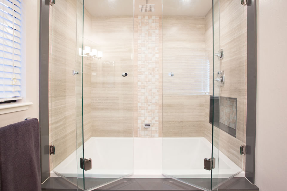 double hinged glass tub doors