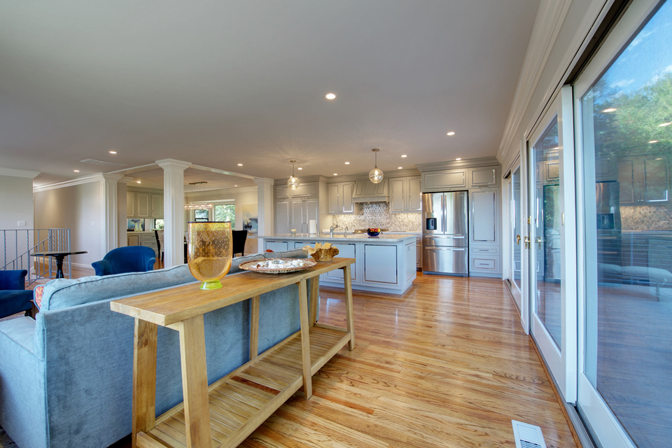 open concept great room with island kitchen